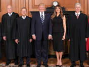 Melania in a stately Dolce & Gabbana black pencil skirt and sleeveless jacket at Neil Gorsurch's Supreme Court investiture ceremony