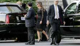 Melania in another black floral lace Dolce & Gabbana dress headed to dinner with her husband and the Pences in Washington D.C.