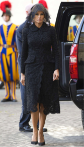 Melania dressed modestly to meet the Pope in a long black lace dress designed by Dolce & Gabbana