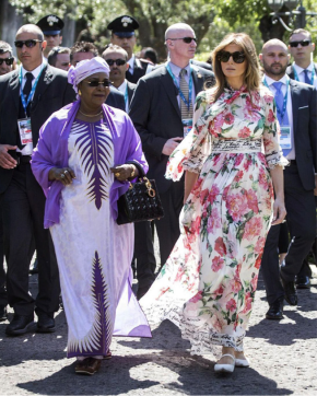 Melania in floral print dress and shoes by Dolce & Gabbana at the G7 Summit in Sicily